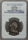 Early Half Dollars: , 1803 50C Large 3 -- Scratches -- NGC Details. VG. O-102a. NGCCensus: (9/1045). PCGS Population (8/411). Mintage: 188,234....