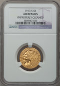 Indian Half Eagles: , 1913-S $5 -- Improperly Cleaned -- NGC Details. AU. NGC Census:(88/1483). PCGS Population (89/676). Mintage: 408,000. Numi...