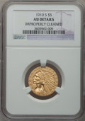 Indian Half Eagles: , 1910-S $5 -- Improperly Cleaned -- NGC Details. AU. NGC Census:(40/1153). PCGS Population (71/607). Mintage: 770,200. Numi...