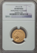 Indian Half Eagles: , 1912-S $5 -- Improperly Cleaned -- NGC Details. AU. NGC Census:(55/1213). PCGS Population (83/510). Mintage: 392,000. Numi...