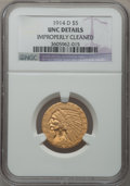 Indian Half Eagles: , 1914-D $5 -- Improperly Cleaned -- NGC Details. Unc. NGC Census:(66/1645). PCGS Population (44/1245). Mintage: 247,000. Nu...