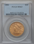 Liberty Eagles: , 1882 $10 MS63 PCGS. PCGS Population (343/35). NGC Census: (736/63).Mintage: 2,324,480. Numismedia Wsl. Price for problem f...