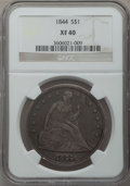 Seated Dollars: , 1844 $1 XF40 NGC. NGC Census: (12/123). PCGS Population (22/165).Mintage: 20,000. Numismedia Wsl. Price for problem free N...