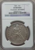 Seated Dollars: , 1841 $1 -- Repaired, Plugged -- NGC Details. XF. NGC Census:(12/174). PCGS Population (33/234). Mintage: 173,000. Numismed...