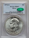 Eisenhower Dollars: , 1972-S $1 Silver MS67 PCGS. CAC. PCGS Population (5544/1465). NGC Census: (1092/377). Mintage: 2,193,056. Numismedia Wsl. P...
