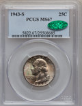 Washington Quarters: , 1943-S 25C MS67 PCGS. CAC. PCGS Population (35/1). NGC Census:(149/0). Mintage: 21,700,000. Numismedia Wsl. Price for prob...