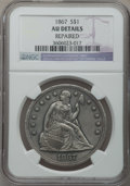 Seated Dollars: , 1867 $1 -- Repaired -- NGC Details. AU. NGC Census: (6/42). PCGSPopulation (26/81). Mintage: 46,900. Numismedia Wsl. Price...