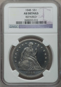 Seated Dollars: , 1848 $1 -- Repaired -- NGC Details. AU. NGC Census: (3/52). PCGSPopulation (29/80). Mintage: 15,000. Numismedia Wsl. Price...