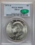 Eisenhower Dollars: , 1971-S $1 Silver MS66 PCGS. CAC. PCGS Population (2774/384). NGC Census: (753/82). Mintage: 2,600,000. Numismedia Wsl. Pric...