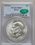 Eisenhower Dollars: , 1973-S $1 Silver MS67 PCGS. CAC. PCGS Population (3247/820). NGC Census: (743/135). Mintage: 869,400. Numismedia Wsl. Price...