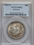 Commemorative Silver: , 1937-S 50C Arkansas MS66 PCGS. PCGS Population (61/3). NGC Census:(29/3). Mintage: 5,506. Numismedia Wsl. Price for proble...
