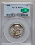 Washington Quarters: , 1958 25C MS67 PCGS. CAC. PCGS Population (255/0). NGC Census:(563/1). Mintage: 6,300,000. Numismedia Wsl. Price for proble...