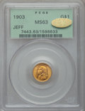 Commemorative Gold, 1903 G$1 Louisiana Purchase/Jefferson MS63 PCGS. Gold CAC. PCGSPopulation (553/2242). NGC Census: (264/1539). Mintage: 17,...