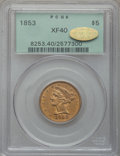 Liberty Half Eagles, 1853 $5 XF40 PCGS. Gold CAC. PCGS Population (29/238). NGC Census:(9/416). Mintage: 305,770. Numismedia Wsl. Price for pro...