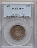 Seated Quarters: , 1872 25C XF40 PCGS. PCGS Population (3/50). NGC Census: (2/42).Mintage: 182,000. Numismedia Wsl. Price for problem free NG...