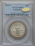 Commemorative Silver, 1936-S 50C Columbia MS65 PCGS. Gold CAC. PCGS Population (696/559).NGC Census: (528/731). Mintage: 8,007. Numismedia Wsl. ...