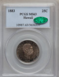 Coins of Hawaii: , 1883 25C Hawaii Quarter MS63 PCGS. CAC. PCGS Population (286/587). NGC Census: (170/489). Mintage: 500,000. ...