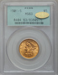 Liberty Half Eagles, 1901-S $5 MS63 PCGS. Gold CAC. PCGS Population (1368/1217). NGCCensus: (1285/1599). Mintage: 3,648,000. Numismedia Wsl. Pr...