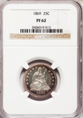 Proof Seated Quarters: , 1869 25C PR62 NGC. NGC Census: (22/110). PCGS Population (37/95).Mintage: 600. Numismedia Wsl. Price for problem free NGC/...