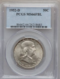 Franklin Half Dollars: , 1952-D 50C MS66 Full Bell Lines PCGS. PCGS Population (63/2). NGCCensus: (13/0). Numismedia Wsl. Price for problem free N...