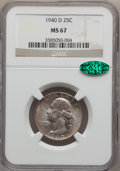 Washington Quarters: , 1940-D 25C MS67 NGC. CAC. NGC Census: (43/1). PCGS Population(22/0). Mintage: 2,797,600. Numismedia Wsl. Price for problem...