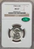 Washington Quarters: , 1944-S 25C MS67 NGC. CAC. NGC Census: (311/1). PCGS Population(82/3). Mintage: 12,560,000. Numismedia Wsl. Price for probl...