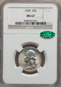 Washington Quarters: , 1939 25C MS67 NGC. CAC. NGC Census: (246/3). PCGS Population(233/3). Mintage: 33,548,796. Numismedia Wsl. Price for proble...