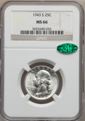 Washington Quarters: , 1943-S 25C MS66 NGC. CAC. NGC Census: (472/150). PCGS Population(526/38). Mintage: 21,700,000. Numismedia Wsl. Price for p...