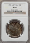 Commemorative Silver: , 1938 50C Arkansas MS66 NGC. NGC Census: (47/0). PCGS Population(80/6). Mintage: 3,156. Numismedia Wsl. Price for problem f...