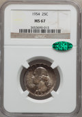 Washington Quarters: , 1954 25C MS67 NGC. CAC. NGC Census: (167/0). PCGS Population(36/0). Mintage: 54,400,000. Numismedia Wsl. Price for problem...