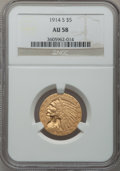 Indian Half Eagles: , 1914-S $5 AU58 NGC. NGC Census: (526/521). PCGS Population(212/444). Mintage: 263,000. Numismedia Wsl. Price for problem f...