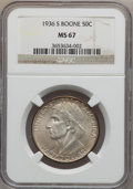Commemorative Silver: , 1936-S 50C Boone MS67 NGC. NGC Census: (32/1). PCGS Population(53/2). Mintage: 5,006. Numismedia Wsl. Price for problem fr...
