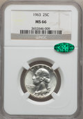 Washington Quarters: , 1963 25C MS66 NGC. CAC. NGC Census: (1026/63). PCGS Population(308/7). Mintage: 74,300,000. Numismedia Wsl. Price for prob...