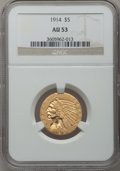 Indian Half Eagles: , 1914 $5 AU53 NGC. NGC Census: (14/2564). PCGS Population (48/2039).Mintage: 247,000. Numismedia Wsl. Price for problem fre...
