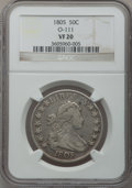 Early Half Dollars: , 1805 50C VF20 NGC. O-111. NGC Census: (13/896). PCGS Population(43/299). Mintage: 211,722. Numismedia Wsl. Price for prob...