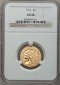 Indian Half Eagles: , 1911 $5 AU58 NGC. NGC Census: (1919/7785). PCGS Population(1163/4565). Mintage: 915,000. Numismedia Wsl. Price for problem...