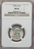 Washington Quarters: , 1940-D 25C MS66 NGC. NGC Census: (271/44). PCGS Population(300/22). Mintage: 2,797,600. Numismedia Wsl. Price for problem ...