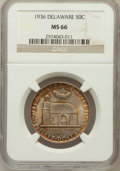 Commemorative Silver: , 1936 50C Delaware MS66 NGC. NGC Census: (473/97). PCGS Population(626/77). Mintage: 20,993. Numismedia Wsl. Price for prob...