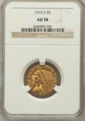 Indian Half Eagles: , 1915-S $5 AU58 NGC. NGC Census: (428/256). PCGS Population(118/245). Mintage: 164,000. Numismedia Wsl. Price for problem f...