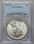 Peace Dollars: , 1927-D $1 MS64 PCGS. PCGS Population (1154/140). NGC Census:(769/77). Mintage: 1,268,900. Numismedia Wsl. Price for proble...