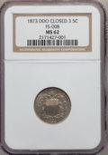 Shield Nickels, 1873 5C Closed 3, DDO MS62 NGC. FS-008. PCGS Population (2/57). ...