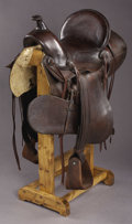 Western Expansion:Cowboy, WESTERN HIGH BACK 1917 PACKERS SADDLE KANSAS ca. 1890-1910 - No makers mark; double rigged; embossed leather edges; rear can...