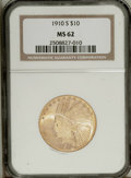 Indian Eagles: , 1910-S $10 MS62 NGC. The surfaces are lustrous with original mintbloom and a consistent bright yellow-gold color. There ar...