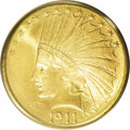Indian Eagles: , 1911-S $10 MS64 PCGS. In the series of ten dollar Indians, the1911-S was once considered on par with the elusive 1911-D. E...