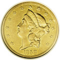 Liberty Double Eagles: , 1858-O $20 XF45 NGC. Probably fewer than 150 coins are known today out of the mintage of 35,250 pieces, and most of those a...