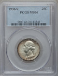 Washington Quarters: , 1938-S 25C MS66 PCGS. PCGS Population (361/35). NGC Census:(247/40). Mintage: 2,832,000. Numismedia Wsl. Price for problem...