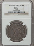 Bust Half Dollars, 1807 50C Capped Bust, Large Stars 50/20 VF35 NGC. O-112. PCGSPopulation (2/37). Numismedia Wsl. Price...