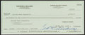 Autographs:Checks, Ted Williams Signed Check....