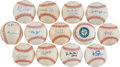 Autographs:Baseballs, Baseball Greats Single Signed Balls Lot Of 12....
