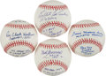 Autographs:Baseballs, Pitching Greats Single Signed Baseballs With Lengthy InscriptionsLot Of 4....